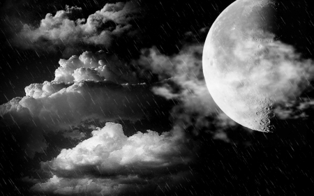 Full moon - moon, clouds, night, skyes
