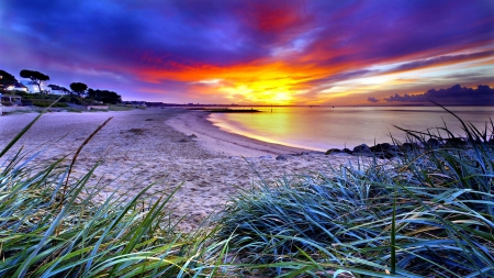 Amazing Sunset - beach, beautiful, clouds, cost, HDR, ocean ...