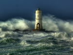 awesome lighthouse in a rough sea