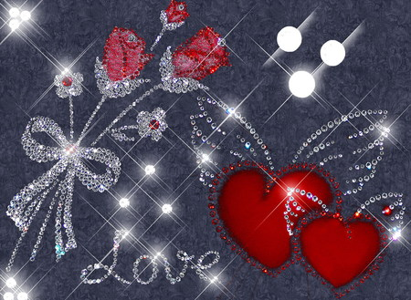 LOVE GLITTERS - diamonds, love, glitters, hearts