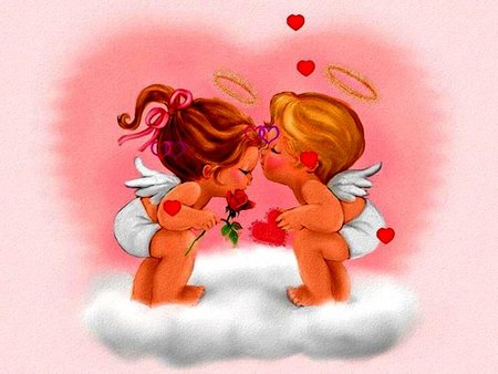 ANGELS AND HEARTS - wings, boy, angel, pink, ribbon, angels, hearts, heart, girl, flower, halo, baby, clouds, love, kiss, fantasy