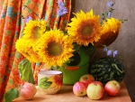 Sunflower and  summer fruits - still life