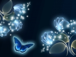 Blue Glow Flowers and Butterfly
