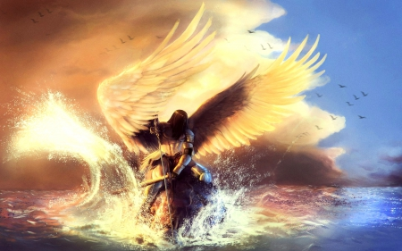 angel knight of the ocean fantasy amp abstract background
