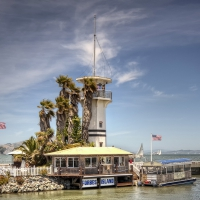 lighthouse on forbes island on fishermans wharf san francisco