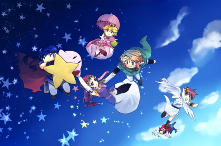 Flying high! - Super smash bros, Kirby, Ike, Link, Peach, Warpstar, Zelda, Pit, Mario