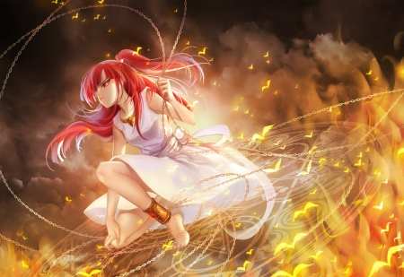 Morgiana - glow, beautiful, beauty, sexy, magical, anime, girl, female, magfic, sinister, redhead, warrior, long hair, cute, morgiana, red hair, Magi The Labyrinth of Magic, chain, gown, light, weapon, angry, anime girl, mad, hot, sparks, dress