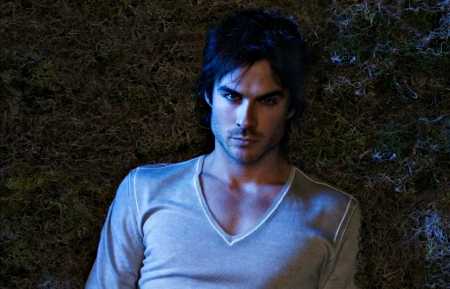 Ian Somerhalder as Damon - vampire diaries, damon, male, ian somerhalder, night, actor, dark, man, white, tv series, fantasy