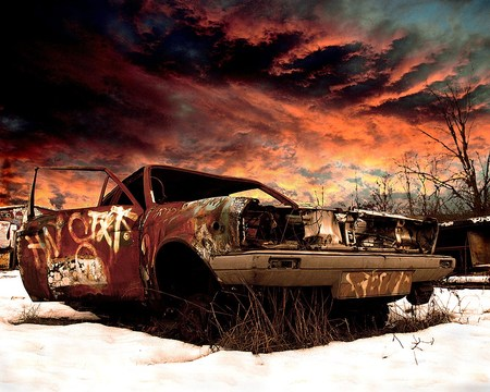 Decayed Car - graffiti, sky, snow, abstract, car