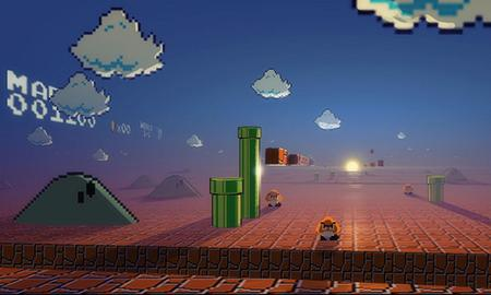 good morning mario - 3d, sunrise, mario, acid trip