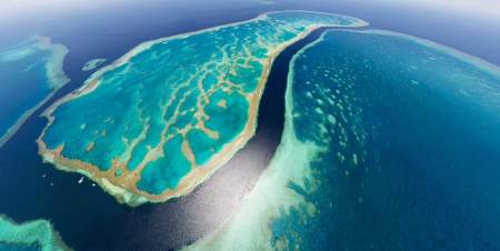 THE GREAT BARRIER REEF, AUSTRALIA - sea, oceanscape, coral reef, beach, aerial view, landscape, water