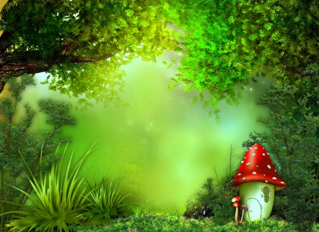 Cute mushroom forests nature background wallpapers on - Background images nature ...