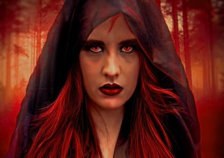 Red Witch - fantasy, red hair, woods, woman, red eyes