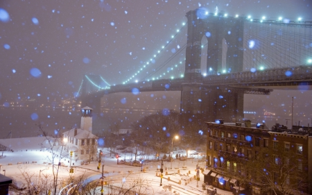 New york on a snowy winter night winter nature background wallpapers on desktop nexus image - Snow night city wallpaper ...