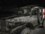 WWII US military medical truck hdr
