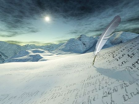 Snow writing or Poem on a Mountain  - surface, words, sentences, moon, snow, poem, hard, mountain, feather, rock, writing