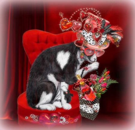 �cat in valentine steampunk hat� cats amp animals