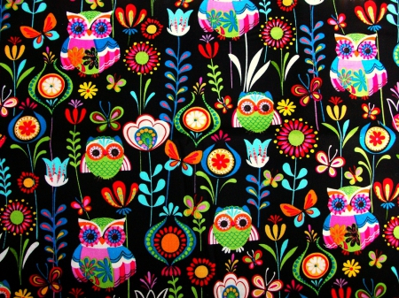 WHIMSICAL OWLS - OWLS, BRIGHT, WHIMSICAL, COLORS