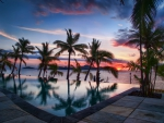 Sunset over pool Fiji