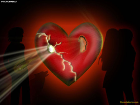 Broken Heart - couple, figure, shadowe, heart, cracked, light, silhouettes, red, hole
