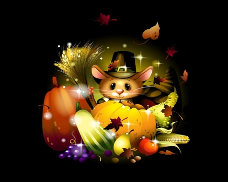 Thanksgiving day mouse 3d and cg abstract background - Thanksgiving day wallpaper 3d ...