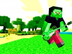 Minecraft Steve Zombie Playing Guitar On Land