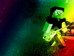 Minecraft Steve Zombie Playing Guitar Psychedelic