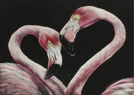 Two Flamingos - flamingos, painting, 2, pink