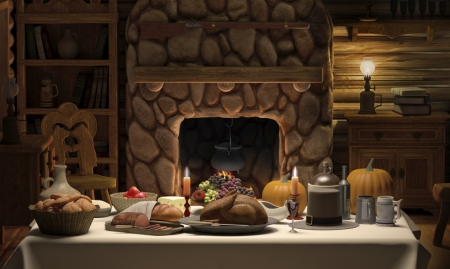 Dinner Table Background thanksgiving day dinner - 3d and cg & abstract background