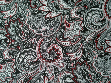 Black, White, & Red Paisley - red, abstract, black, cute, vintage, paisley, vmhenson, swirls, white