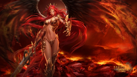 League of Angels - Mikaela 1920x1080 - angel, sexy, League of Angels, video game, girl, female, purgatory, wing, GTArcade, browser game, game, hell, mmorpg, volcano, fire, rpg, fantasy girl