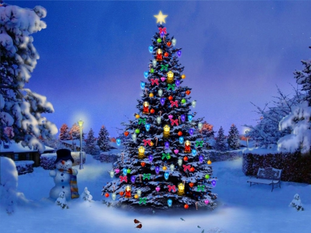 Snowman and christmas tree winter nature background - Christmas nature wallpaper ...