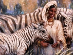 Girl and Zebra