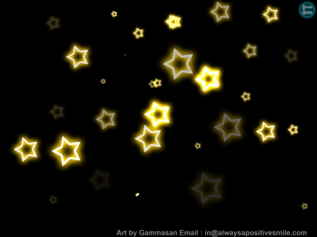 Gold stars In The Sky At Night - stars, art, sky, painting