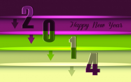 2014 - happy new year, 2014, green, purple color, beauty