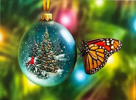 Butterfly Christmas - 3D and CG & Abstract Background Wallpapers ...
