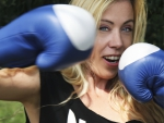 Wendy Schrievers throwing a right hook.