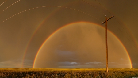amazing view of rainbow - rainbow, pole, fields, line, circle, view