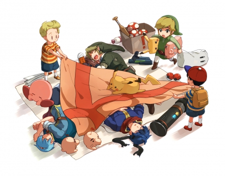 Time for Bed - Toon Link, Kirby, Ike, Pikachu, Link, Ness, Marth, Lucas, Super Smash Bros Brawl