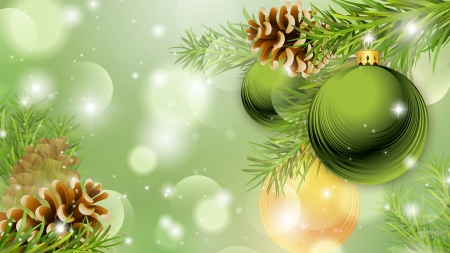Christmas Green and Cones - Winter & Nature Background
