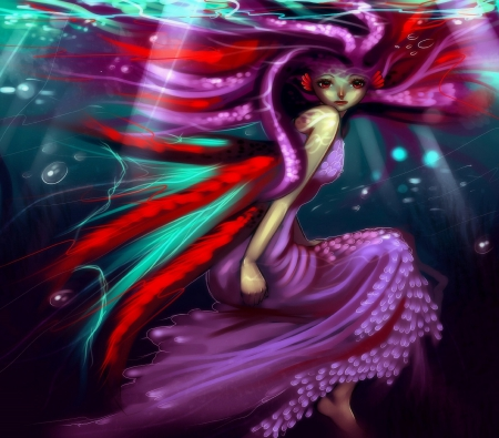Octopus girl fantasy abstract background wallpapers on for Colorful octopus painting