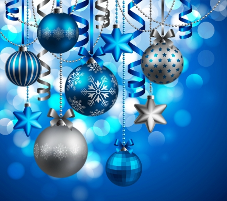 Blue And Silver Ornaments - Other & Abstract Background Wallpapers ...