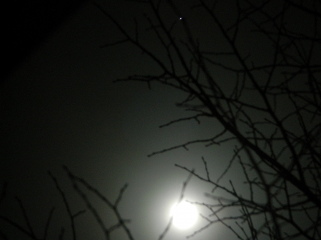 Moon meets Jupiter - moon, Space, Jupiter, Night