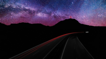 Starry Sky! - highway, starry, sky, nature