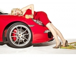 Dioni Tabbers supermodel and red Ferrari