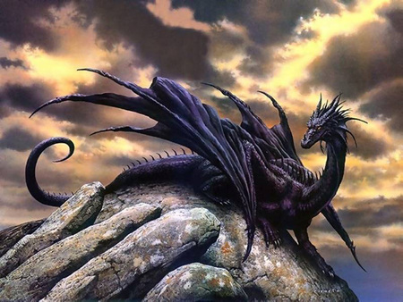 Black Dragon - wings, black, abstract, dragon, anime, black dragon, sea, fantasy, rock