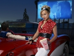Corvette at drive-in with Hayden Panettiere