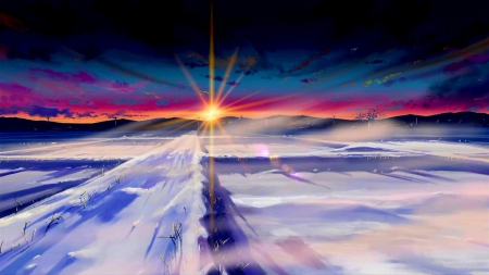 WINTER SUNRISE - spark, sunrise, winter, snow