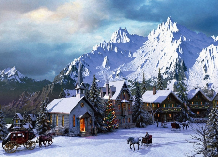 mountain village in winter other abstract background. Black Bedroom Furniture Sets. Home Design Ideas