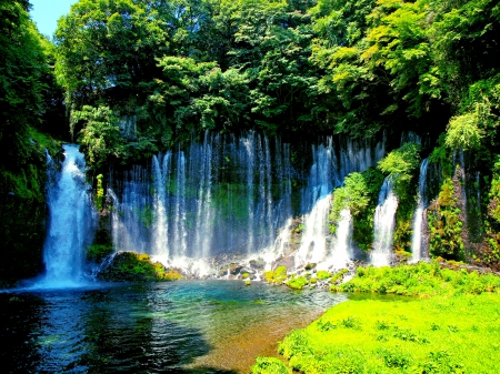 Forest river falls waterfalls nature background - Waterfalls desktop wallpaper forest falls ...